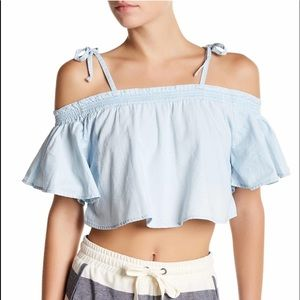 🎀The Fifth Lable🎀 Blue Cold Shoulder Crop Top